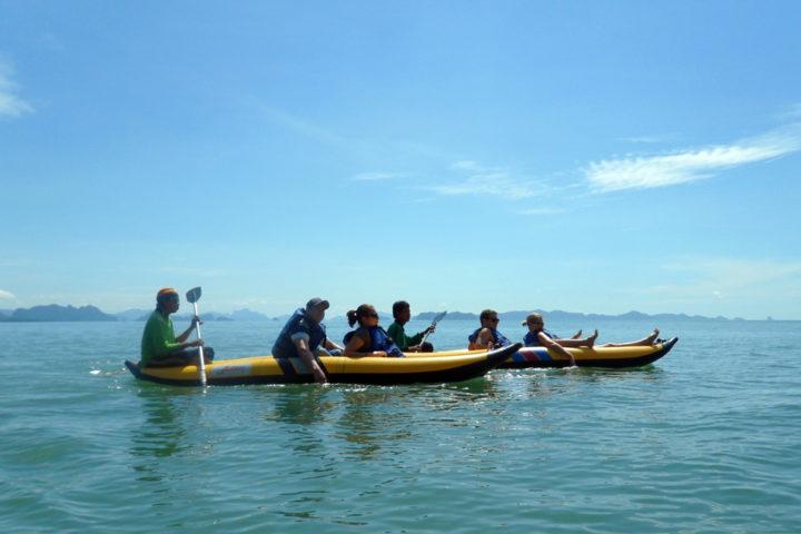 Canoeing in the sea of Phang Nga bay
